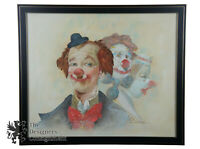 Vintage Original Oil on Board Three Circus Clowns Portrait Painting by Simon