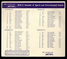 1970-71 Los Angeles Forum Calendar of Sports & Entertainment Events NO Hotel