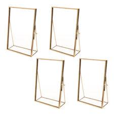 Set of 4PCS Modern Glass Desk Standing Picture Photo Frame Portrait Brass