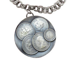 Vintage Sterling Silver Statement Coin Pendant Necklace Germany S. Africa 966g