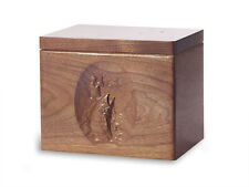 Wood Cremation Urn. Standard model with Black Walnut and a Fish Image