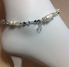 W/Free Stretch Toe Ring Usa Handmade Pearl Crystal Anklet W/Swarovski Elements