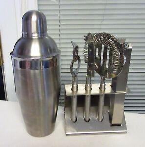 OGGI Bar Set 5 Pc. 18/8 Stainless Steel Satin Finish  Bar tools Martini tools