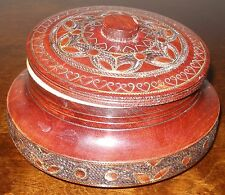 VINTAGE HANDMADE HAND CARVED ROUND WOODEN TRINKET BOX JEWELRY BOX