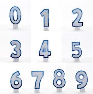 NUMBER AGE CANDLE Birthday Cake All Ages BLUE GLITTER Party Cake Decoration