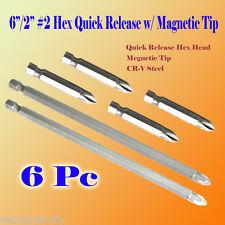 "6x 6""/2"" Phillips #2 Screw Driver Bit Quick Release Hex Shank Magnetic Tip PH2"