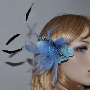 Tela Flores Plumas Broche Azul Claro Turquesa Ramillete Cabello