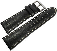 20mm Hadley-Roma MS906 Mens Black Leather Contrast Stitched Watch Band Strap