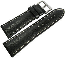 18mm Hadley-Roma MS906 Mens Black Leather Contrast Stitched Watch Band Strap