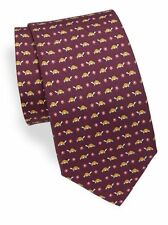 NWT Men's Authentic Salvatore Ferragamo Tortoise & Flower Burgundy Silk Tie $190