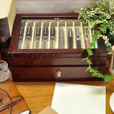 Wancher Japan Kabazai Urushi Lacquer Dark Brown Wooden Pen Display Case 20 Pens