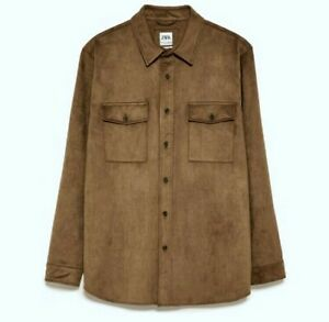 RARE New + Tags Very High Quality ZARA Faux Suede Relaxed Fit Shirt   RRP £45.99
