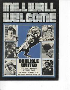 Millwall v Carlisle United 1976/77 Division 2
