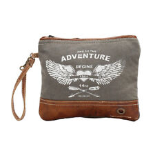 AND THE ADVENTURE BEGINS Canvas + Leather Wristlet Bag Army Green/White Stencil