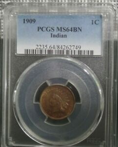 1909 Indian Cent 1C PCGS Graded MS64BN