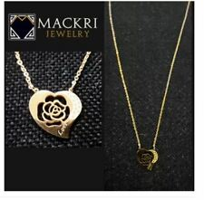 MACKRI Gold Stainless Steel Chain Necklace with Rose Love Heart Pendant