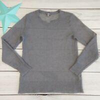 J Jill Mohair Wool Blend Sweater Size XS Gray Pullover Open Weave Knit Long Slv