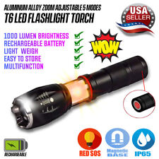 5Modes Zoomable Bright LED Tactical 18650 Police Flashlight COB Work Lamp Torch