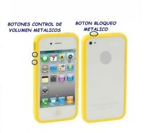 funda carcasa BUMPER para IPHONE 4 4S BOTONES METALICOS COLOR AMARILLO