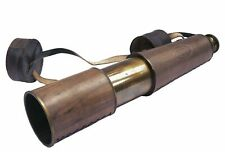 "Nautical Antique Brass Telescope Vintage Spyglass Leather Decor w Belt 32"" Large"