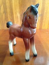 """Vintage Porcelain Horse Pony Foal Brown Bay w Black Mane and Blaze 7"""""""