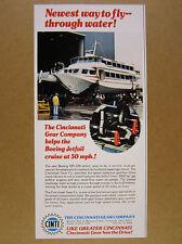 1974 Boeing 929-100 Jetfoil hydrofoil photo Cincinnati Gear vintage print Ad