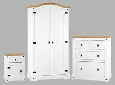 White CORONA 3pc Bedroom Set Wardrobe Chest of Drawers Bedside MDF Solid Pine