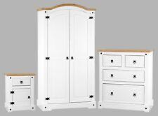 Corona White 3 Piece Bedroom Furniture Set - Wardrobe Chest Bedside - Pine Tops