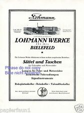 Sattel und Taschen Lohmann Bielefeld Reklame 1925 Fahrradlampen Koffer