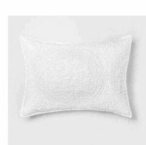 Opalhouse Pillow Sham Stitched Medallion  Opalhouse Standard solid White