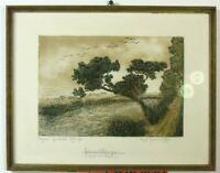 """August Hermann Fischer """"Ziehende Vögel"""" Heimatklänge, Original Lithografie"""