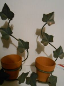 Homco Wall Candle or Flower Pot Holder Vine Leaves Design Green Metal set of two