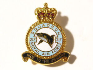Royal Air Force 217th Squadron Woe To The Unwary Enamel Badge RAF #R1