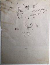 JEAN-FRANCOIS MILLET-French Barbizon School-Original Stamped Ink Sketch-Horses
