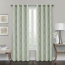 Curtain Panel Brent Grommet 100% Blackout 84-Inch Window Green White Embroidered