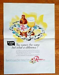 "RAINIER BEER  Original VNTG ADVERTISING Poster THE REAL RAINIER IS HERE 18""x25"""
