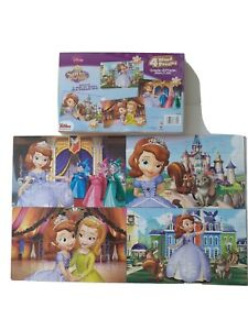 Disney sofia the first 4 wood puzzles & tray (13.4 in. × 8.375 inches).
