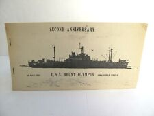 Uss Mount Olympus Agc-8 1946 Second Anniversary Shanghai China Cruise Booklet