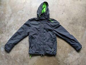Superdry Mens Medium Gray Green Windcheater Windbreaker Rain Hooded Jacket