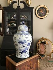 Rare Chinese Blue and White Handpainted Ginger Jar With Lion Finial Warrior 24""