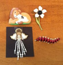 Lapel Pin Lot vintage Lion with Lamb Angel Centipede Flower