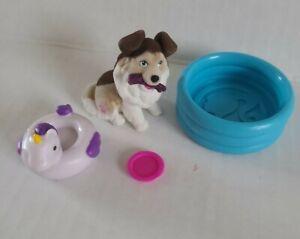 BARBIE PETS 4 PIECE PLAYSET Fuzzy Collie dog w/ UNICORN POOL FLOAT MATTEL