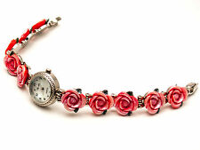 WOMEN'S ANTIQUE SILVER FINISH ROUND CASE ROSE FLOWERS LINKS ANALOG QUARTZ WATCH