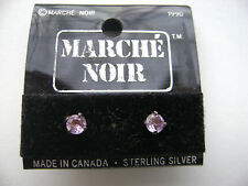 Sterling Silver Pink Quartz Stone Stud Earrings New Old Stock