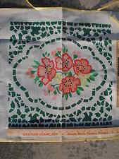 """Painted needlepoint canvas by Brunswick P496 18""""x18"""" Flower Pattern vintage New"""