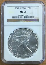 2012-W AMERICAN EAGLE ONE DOLLAR NGC MS69 SILVER CERTIFIED COIN!