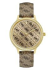 GUESS Gold-Tone Brown Genuine Leather Crystal Logo Embossed Watch U1229L2