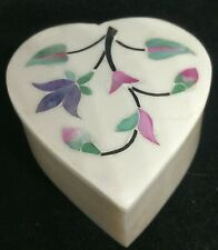 HEART SHAPED  Floral Trinket Box With Lid VINTAGE INDIA WITH FLOWER INLAY, STONE