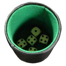Jogh Dice Cup, Leatherette and Felt, Includes 5 Dice, Pencil, and Notepad, New