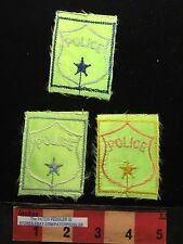 Patch Lot Of 3 Vintage CHEAPLY MADE / THIN Cosplay Police Patches C636
